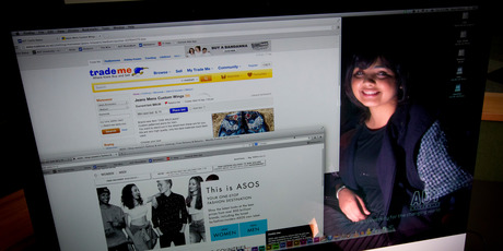 AUT student Skye Pathare spends a lot of time online shopping on websites such as ASOS and trademe. Photo / Sarah Ivey.