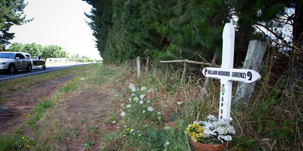 Roadside memorial for William Hoskins. Photo / Michael Craig