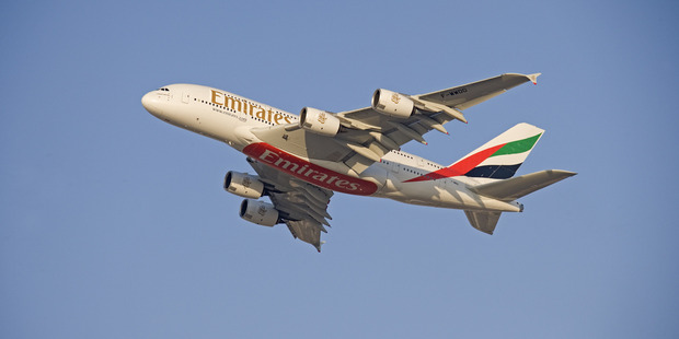 There was only a fraction of the plane's more than 500-person capacity aboard for the Sydney-Auckland leg of the Emirates flight.