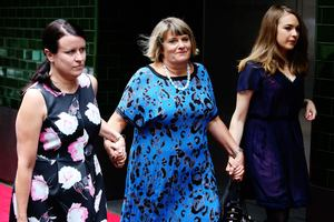 Biographer Jo Thornley (left), sister Vicky Dawson and niece Emily Barclay at the memorial ceremony for Charlotte Dawson. Photo / Daily Telegraph
