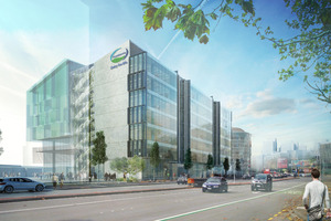 Artist's impression of the new Fonterra headquarters looking east on Fanshawe St.