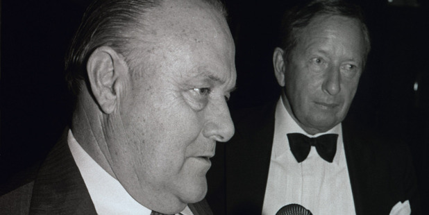 Sir Robert Muldoon (left), with Governor-General Sir David Beattie on the night he called the snap election in 1984. Photo / NZ Herald