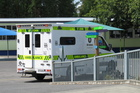 An ambulance at Kerikeri Primary School after today's accident.