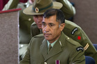 NZ Army Corporal Theodore Marama (centre) during a NZ Army Court Martial hearing at Burnham Military Camp in Canterbury. Photo / Martin Hunter
