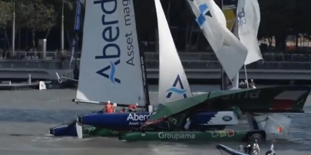 Loading Day three saw a serious collision between Groupama and Aberdeen Singapore.
