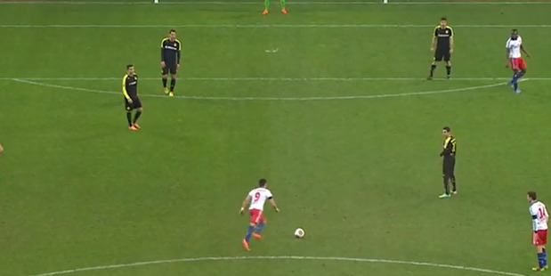 Loading Hamburger SV midfielder Hakan Calhanoglu lines up a shot from 41 metres. Photo / Youtube.