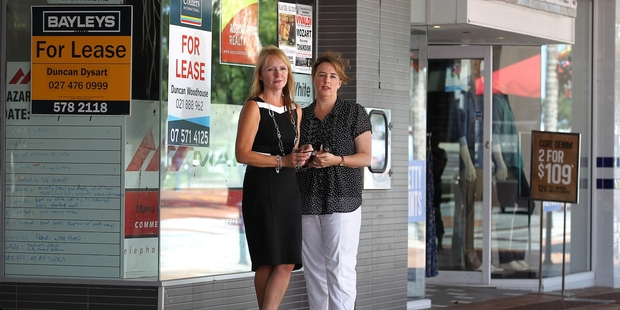 BRAINSTORMING: Tuskany Tauranga Mainstreet champions Sally Cooke and Roanna Kelly in Mid City Mall where there are a number of vacant shops.PHOTO/JOHN BORREN