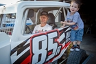 Jason Penn gets some tips from his son Jacob, 3, in the buildup to his first drive for the Meeanee Maulers tomorrow night. Photo / Glenn Taylor