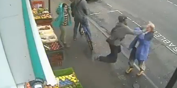 An image taken from CCTV footage of Lewis Gill's attack on Andrew Young.
