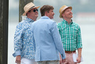 Rhys Darby on location in Sydney for Modern Family with Jesse Tyler Ferguson (right) and Eric Stonestreet. Photo / Splash