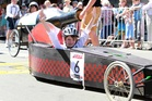 Jack Halpin of Taradale was the winner of the open final - Soap Box Derby in Tennyson St, Napier at the Tremains Art Deco Weekend. Photo/Duncan Brown