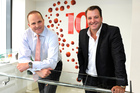 Westpac's Simon Power celebrates the partnership with Duncan Stewart. Photo / Ross Land