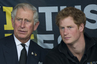 Prince Charles, Prince of Wales and his youngest son, Prince Harry. Photo / Getty