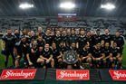 All Blacks after winning the series against England, during the 2nd test match of the Steinlager Series between the All Blacks and England, held at Forsyth Barr Stadium. Photo / Brett Phibbs