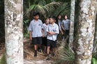 Mission Heights Junior College pupils out for a walk. Photo / DoC