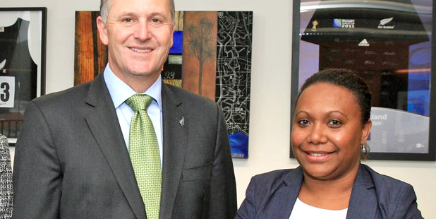 John Key and Fiona Indu from the Solomon Islands Ministry of Foreign Affairs and External Trade.