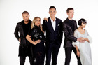 The X Factor judges with host Dominic Bowden. Photo / Supplied