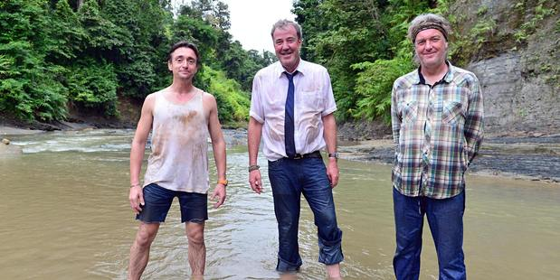 Top Gear hosts Richard Hammond, Jeremy Clarkson and James May.