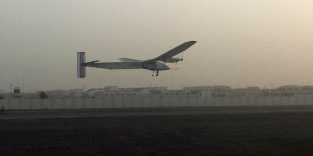 Solar Impulse 2 departing from Abu Dhabi. Photo / AP