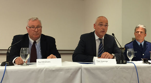 Fonterra CE Theo Sperrings (centre) at a press conference at Fonterra headquarters with Paul McGilvary (left).