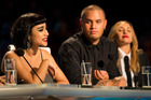 Stan Walker and Melanie Blatt look on as Natalia Kills talks during a taping of The X Factor NZ.