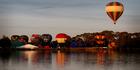 The hot air balloons take to the skies over Waikato. Photo / Christine Cornege