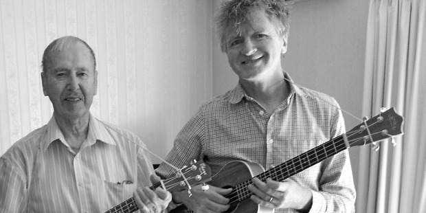 Jim Carter with Neil Finn at Carter's home in Nelson