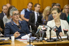 Acting GCSB director Una Jagose, left, and SIS director Rebecca Kitteridge during their appearance before the Intelligence and Security Committee at Parliament in Wellington. Photo / Mark Mitchell