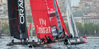Emirates Team New Zealand in the final fleet race of the America's Cup World Series regatta in Naples 2012. Photo / Chris Cameron