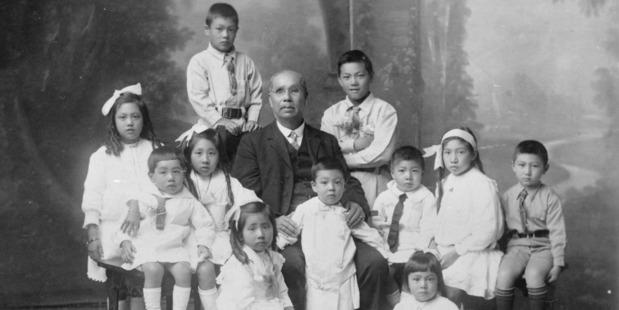 A portrait of the Ah Chee family. Photo / Auckland War Memorial Museum Tamaki Paenga Hira