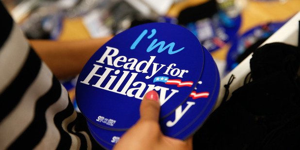 Ready for Hillary apparel and accessories are packed up at the Ready for Hillary super PAC store in Arlington. Photo / AP
