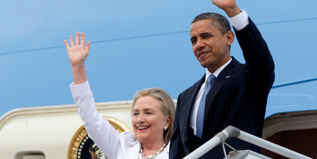 President Barack Obama and then-Secretary of State Hillary Rodham Clinton in 2012. Photo / AP