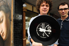 Ben Howe and Matthew Davis outside the soon to be opened Flying Out record store on Pitt Street.