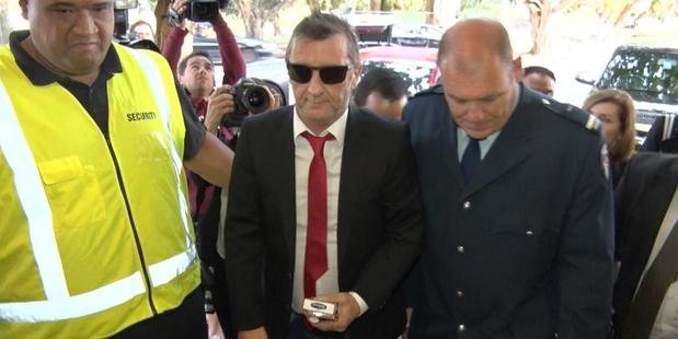 AC/DC drummer Phil Rudd arrives at court. Photo / Daniel Hines