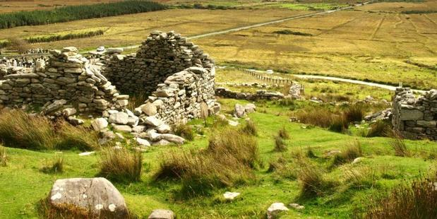 The deserted village of Slievemore, Achill Island. Ruins show 15 people plus livestock lived in a cottage not much bigger than the average bathroom. Photo / Pamela Wade