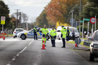 Scene of a traffic accident involving car versus child in South Auckland today. Photo / Doug Sherring