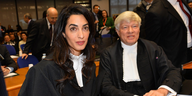 Amal Clooney (L), is seen on January 28, 2015 before the start of an appeal hearing in Perincek. Photo / Getty Images