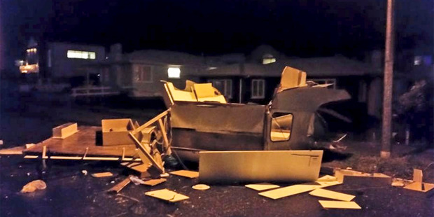 The remains of a caravan lies in Hart St Mt Maunganui after a tornado hit. Picture supplied via Facebook: https://www.facebook.com/helen.chapman2?fref=photo