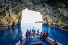 Rikoriko Cave, in the Poor Knights group, is the world's largest sea cave. Photo / Dive! Tututaka