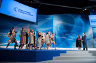 Transport Minister Simon Bridges, with a traditional Maori welcome at the International Transport Forum being held in Leipzig, Germany. Photo / ITF