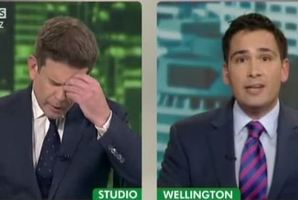 TV3 broadcaster John Campbell struggles in an interview with Tauranga MP Simon Bridges. Photo/file