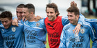 Diego Poyet, in the red vest, with Uruguay U-20 Fifa World Cup team mates. Photo / NZME.