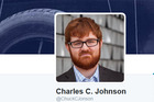 Screen shot from a parody Twitter account of now banned Chuck Johnson. Photo / Twitter @ChuckCJonson