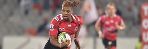 Howard Minsi of the Lions makes some metres as his side defeated the Cheetahs 40-17 this morning in Blomfontein. Photo / Getty Images