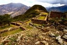 Huge mountains tower above the remains of Choquequirao. Photo / Supplied
