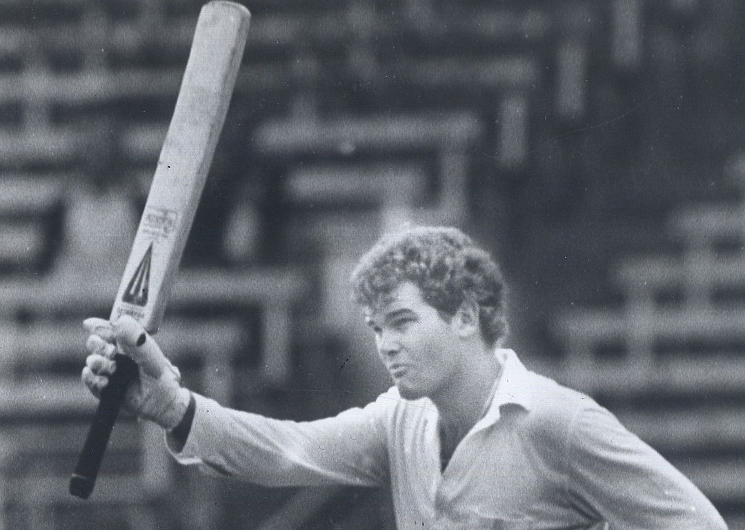1983 file picture of Martin Crowe acknowledging the crowd after making a century.