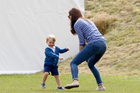 Catherine, Duchess of Cambridge plays with Prince George. Photo / Getty