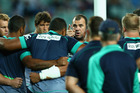 Waratahs coach Michael Cheika talks to players during the round seven Super Rugby match between the Waratahs and the Blues. Photo / File.