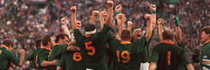 South Africa celebrate beating the All Blacks in the 1995 Rugby World Cup final. Photo / Getty