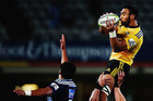 Victor Vito of the Hurricanes wins the ball during the round 15 Super Rugby match between the Blues and the Highlanders. Photo / Getty Images